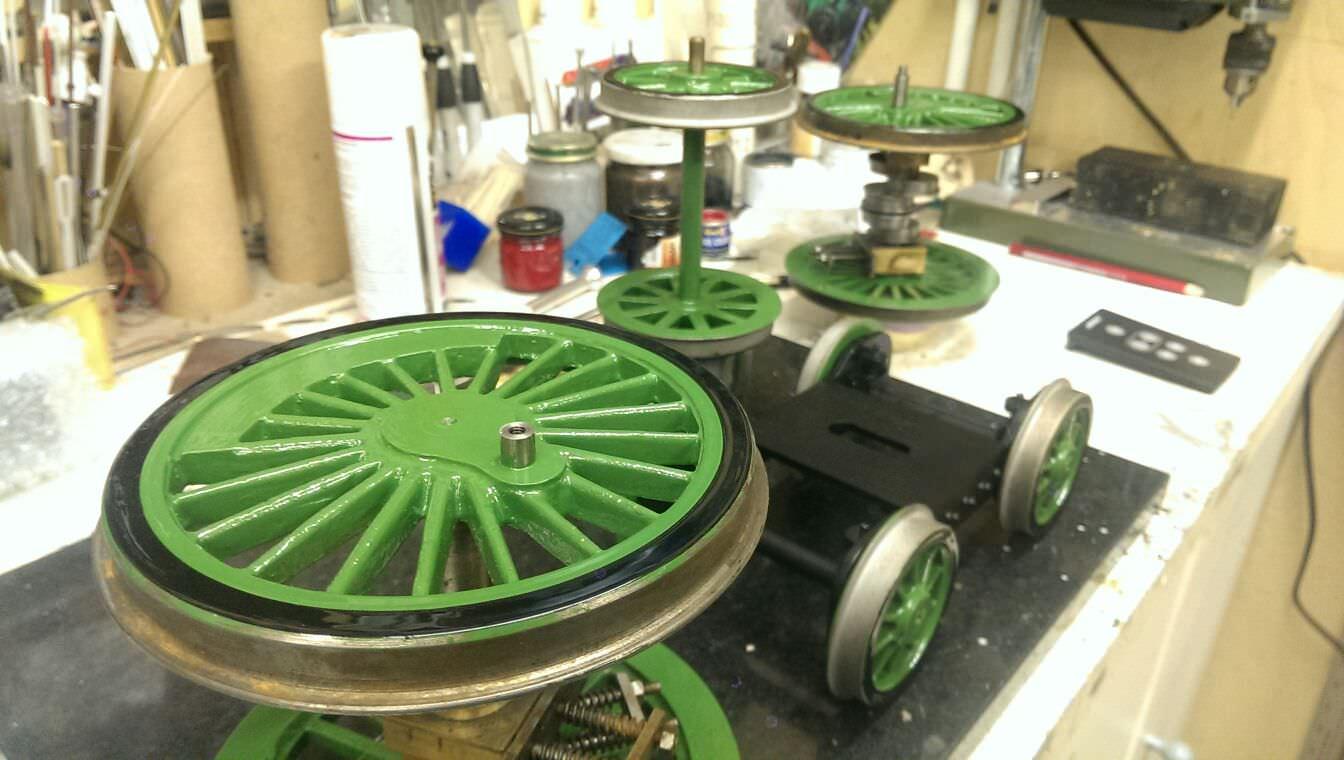 test LBSC Maisie LNER Atlantic live steam locomotive for sale wheels get black rims